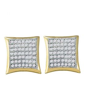 10kt Yellow Gold Womens Round Diamond Square Kite Square Screwback Earrings 1/3 Cttw