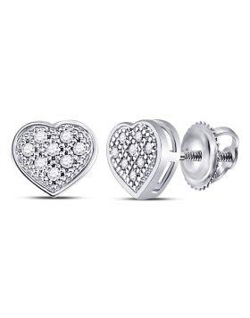 10kt White Gold Womens Round Diamond Heart Cluster Screwback Earrings 1/20 Cttw