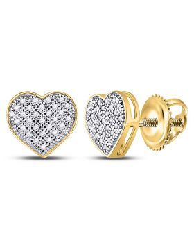 10kt Yellow Gold Womens Round Diamond Heart Cluster Screwback Earrings 1/6 Cttw