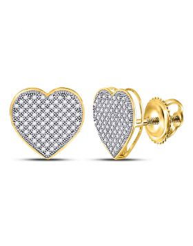10kt Yellow Gold Womens Round Diamond Heart Cluster Earrings 1/2 Cttw