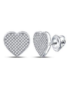 10kt White Gold Womens Round Diamond Heart Cluster Earrings 1/2 Cttw