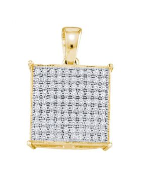 10kt Yellow Gold Womens Round Pave-set Diamond Square Cluster Pendant 1/3 Cttw