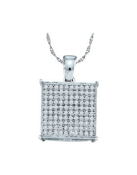 10kt White Gold Womens Round Pave-set Diamond Square Cluster Pendant 1/3 Cttw