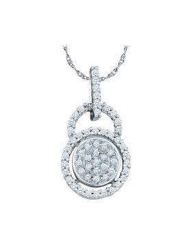 10kt White Gold Womens Round Diamond Circle Frame Cluster Pendant 1/5 Cttw