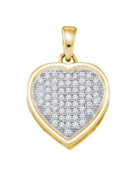 10kt Yellow Gold Womens Round Diamond Small Simple Heart Pendant 1/5 Cttw