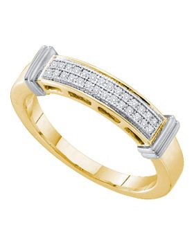 10kt Yellow Gold Womens Round Diamond 2-tone Band Ring 1/12 Cttw