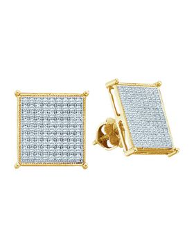 10kt Yellow Gold Womens Round Diamond Square Cluster Stud Earrings 3/8 Cttw