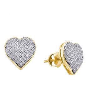 10kt Yellow Gold Womens Round Diamond Heart Earrings 1/3 Cttw