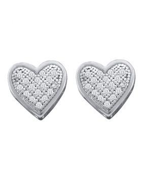 10kt White Gold Womens Round Diamond Heart Screwback Earrings 1/10 Cttw
