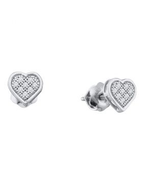 10kt White Gold Womens Round Diamond Heart Cluster Earrings 1/6 Cttw