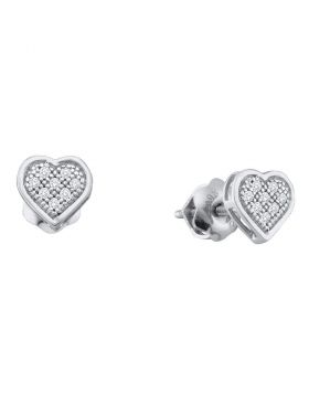 10kt White Gold Womens Diamond Heart Earrings 1/3 Cttw