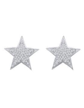 10kt White Gold Womens Round Diamond Star Cluster Stud Earrings 1/4 Cttw
