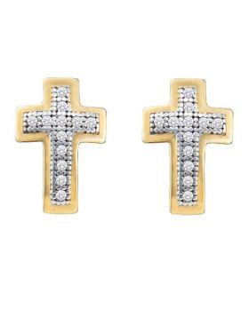 10kt Yellow Gold Womens Round Diamond Small Cross Screwback Earrings 1/10 Cttw