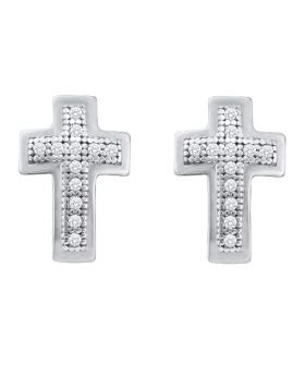 10kt White Gold Womens Round Diamond Small Cross Screwback Earrings 1/10 Cttw