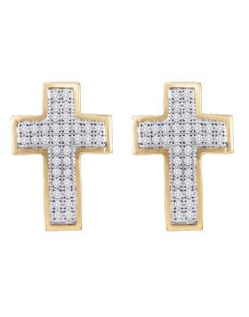 10kt Yellow Gold Womens Round Diamond Cross Earrings 1/5 Cttw