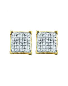 10kt Yellow Gold Womens Round Pave-set Diamond Square Cluster Earrings 1/10 Cttw