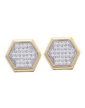 10kt Yellow Gold Womens Round Diamond Hexagon Cluster Earrings 1/5 Cttw