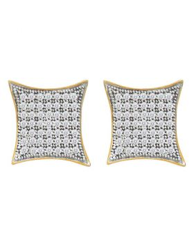 10kt Yellow Gold Womens Round Pave-set Diamond Square Kite Cluster Earrings 1/3 Cttw