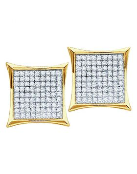 10kt Yellow Gold Womens Round Diamond Square Kite Cluster Earrings 1/2 Cttw