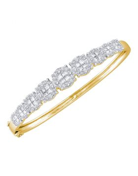 14kt Yellow Gold Womens Princess Round Diamond Soleil Bangle Bracelet 3.00 Cttw