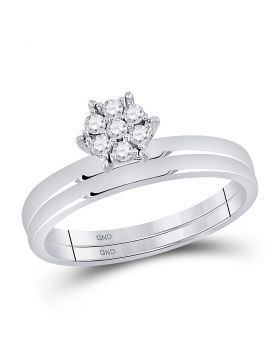 10kt White Gold Womens Round Diamond Cluster Bridal Wedding Engagement Ring Band Set 1/6 Cttw