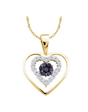 14kt Yellow Gold Womens Round Black Color Enhanced Diamond Double Heart Frame Cluster Pendant 1/4 Cttw