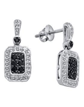14kt White Gold Womens Round Black Color Enhanced Diamond Dangle Earrings 1/2 Cttw