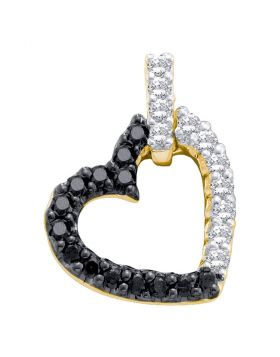 14kt Yellow Gold Womens Round Black Color Enhanced Diamond Dangling Heart Pendant 1/3 Cttw