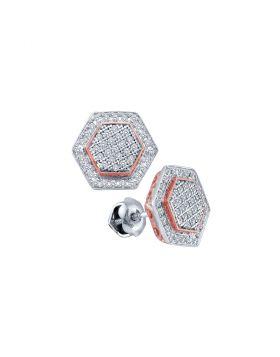 10kt White Gold Womens Round Diamond Cluster Rose-tone Hexagon Stud Earrings 1/3 Cttw
