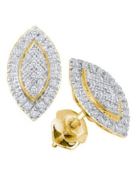 10kt Yellow Gold Womens Round Diamond Cluster Oval Stud Earrings 1/5 Cttw