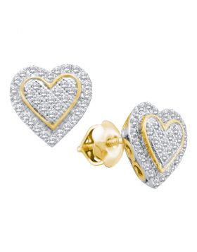 10kt Yellow Gold Womens Round Diamond Heart Cluster Stud Earrings 1/4 Cttw