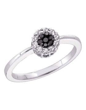 14kt White Gold Womens Round Black Color Enhanced Diamond Slender Flower Cluster Ring 1/4 Cttw