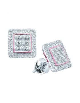 10kt White Gold Womens Round Diamond Cluster Square Rose-tone Stud Earrings 1/3 Cttw