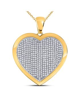 10kt Yellow Gold Womens Round Diamond Heart Cluster Pendant 1.00 Cttw