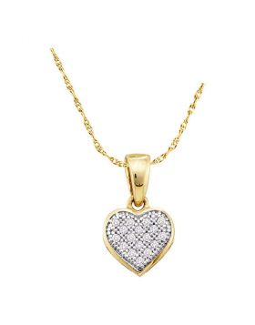 10kt Yellow Gold Womens Round Diamond Simple Heart Cluster Pendant 1/20 Cttw