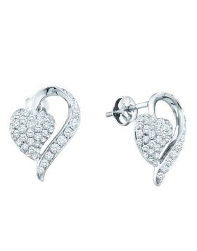 14kt White Gold Womens Round Pave-set Diamond Heart Cluster Earrings 1.00 Cttw