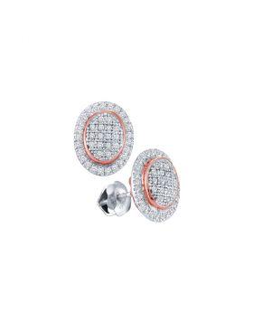 10kt White Gold Womens Round Diamond Oval Rose-tone Frame Cluster Earrings 1/4 Cttw