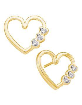 10kt Yellow Gold Womens Round Diamond Simple Heart Screwback Earrings 1/12 Cttw