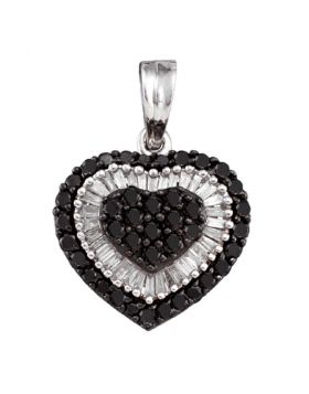 14kt White Gold Womens Round Black Color Enhanced Diamond Heart Cluster Pendant 1.00 Cttw