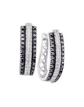 14kt White Gold Womens Round Black Color Enhanced Diamond Triple Row Vertical Stripe Hoop Earrings 1.00 Cttw