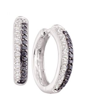 14kt White Gold Womens Round Black Color Enhanced Diamond Hoop Earrings 5/8 Cttw