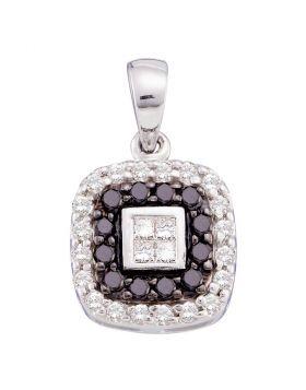 14kt White Gold Womens Round Black Color Enhanced Diamond Square Pendant 1/2 Cttw