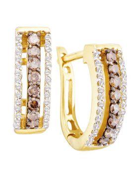 14kt Yellow Gold Womens Round Cognac-brown Color Enhanced Diamond Hoop Earrings 1/2 Cttw