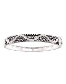 14kt White Gold Womens Round Black Color Enhanced Diamond Bangle Bracelet 2-1/2 Cttw
