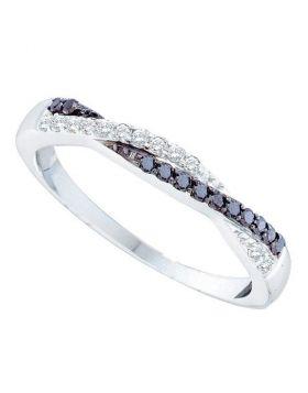 14kt White Gold Womens Round Black Color Enhanced Diamond Slender Twist Band 1/4 Cttw
