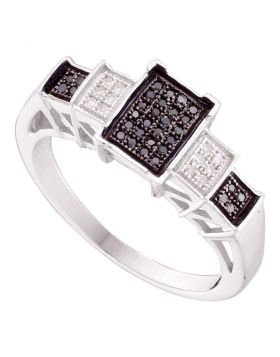 10kt White Gold Womens Round Black Color Enhanced Diamond Rectangle Cluster Ring 1/6 Cttw