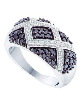 14kt White Gold Womens Round Black Color Enhanced Diamond Fashion Ring 1.00 Cttw