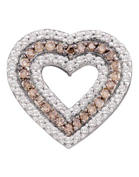 14kt White Gold Womens Round Cognac-brown Color Enhanced Diamond Heart Outline Pendant 3/4 Cttw