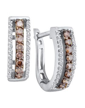 14kt White Gold Womens Round Cognac-brown Color Enhanced Diamond Triple Row Huggie Earrings 1/2 Cttw