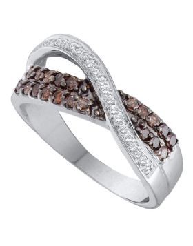 14kt White Gold Womens Round Cognac-brown Color Enhanced Diamond Crossover Band Ring 1/2 Cttw